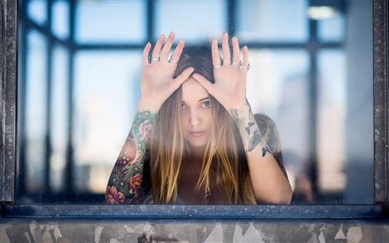 Wallpaper Blonde girl look at you, hands, window