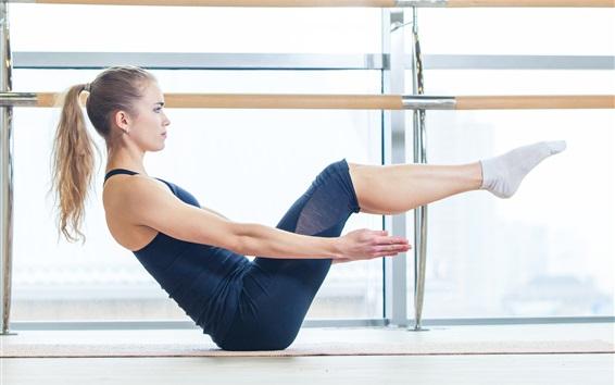Wallpaper Blonde girl, sportswear, yoga, sport