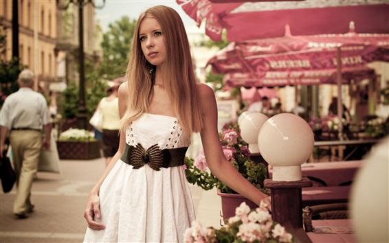 Wallpaper Blonde girl, white skirt, street