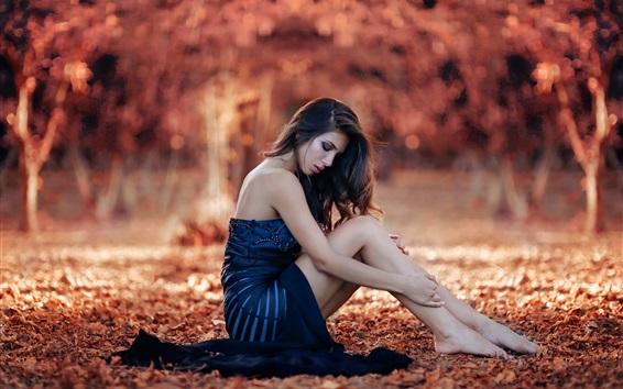Wallpaper Blue dress girl sit in ground, autumn