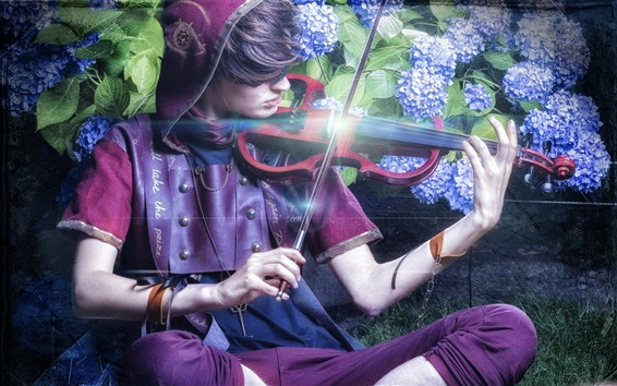 Wallpaper Boy play violin, flowers, music theme