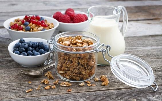 Fondos de pantalla Desayuno, frambuesa, granola, arándanos, leche