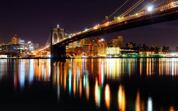 Wallpaper Brooklyn bridge, New York, Hudson river, USA, night, city, illumination