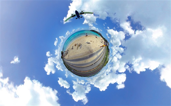 Wallpaper Caribbean, sea, beach, road, planet, clouds, sky, creative picture