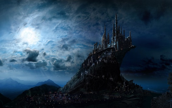Wallpaper Castle, night, moon, clouds, art picture