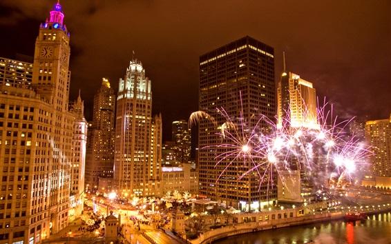 Wallpaper Chicago, Illinois, USA, city, night, fireworks, skyscrapers