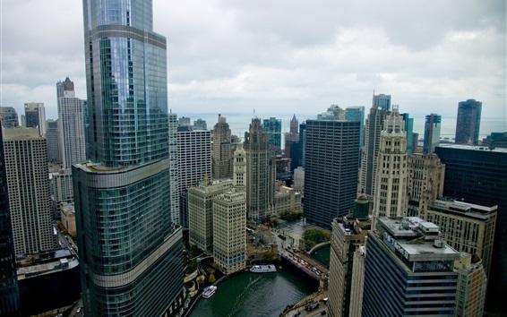 壁紙 シカゴ市、高層ビル、アメリカ、トップビュー