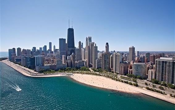 Wallpaper Chicago, skyscrapers, coast, beach, sea, city, USA