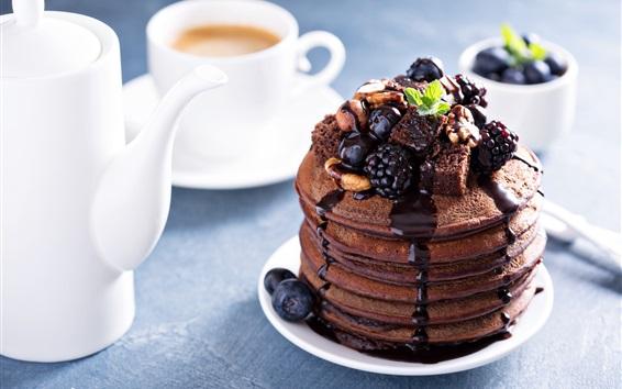 Wallpaper Chocolate cake, tea, cup