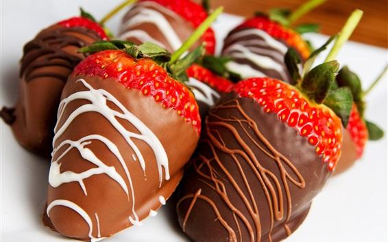 Wallpaper Chocolate-covered strawberries, fruit dessert