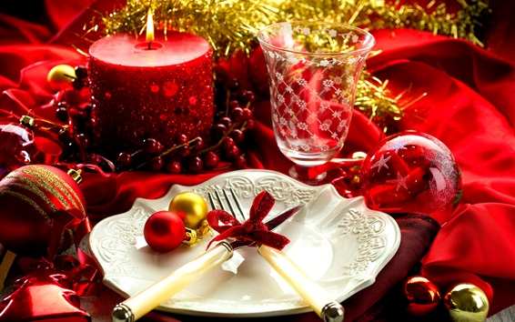 Wallpaper Christmas, New Year, decoration, glass cup, candle, plate, fork, knife, balls