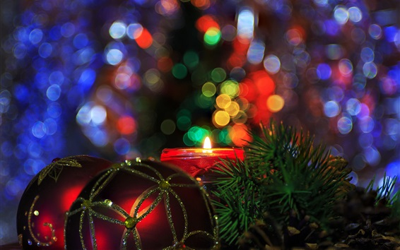 Wallpaper Christmas balls, candle, fire, colorful light