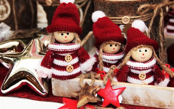 Wallpaper Christmas decoration, elves toys