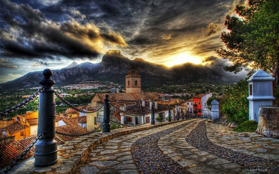 Wallpaper City, dusk, houses, road, sunset, clouds, HDR style