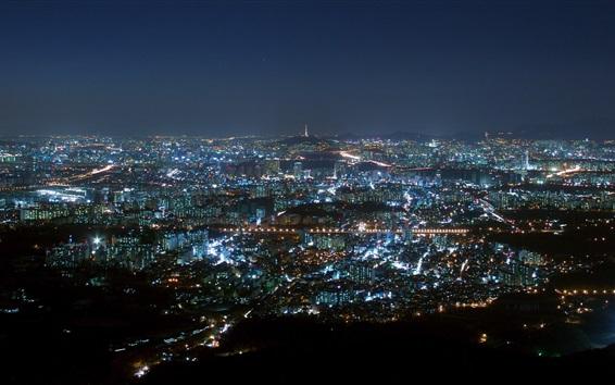 배경 화면 City night, 서울, 한국