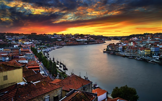 Wallpaper City, river, houses, boats, lights, dusk