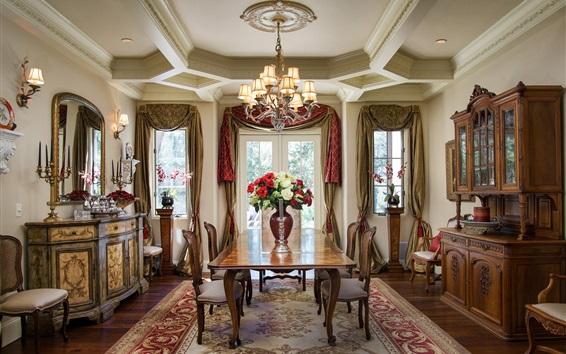 Papéis de Parede Clássico estilo sala de jantar, cadeiras, móveis, flores