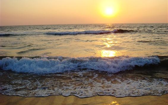 Обои Побережье, пляж, волны, пена, закат