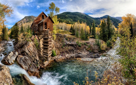 Wallpaper Crystal Mill, waterfall, stream, mountains, trees, Colorado, USA