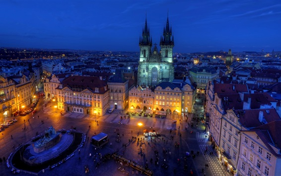 Wallpaper Czech Republic, Old Town Square, night, city, street, houses, lights