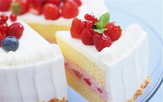 Wallpaper Delicious cake, dessert, sweet food, cream, strawberry