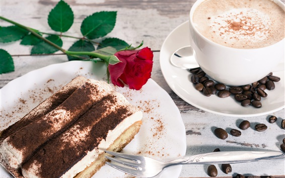 Wallpaper Dessert, tiramisu, cake, coffee, rose