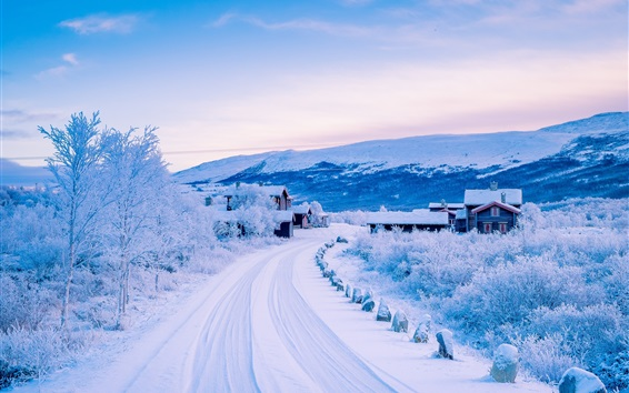 Dover, Scandinavian Mountains, winter, snow, road, village, Norway Wallpaper Preview