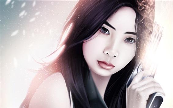 Fond d'écran Fantaisie Fille asiatique, armes, étincelles
