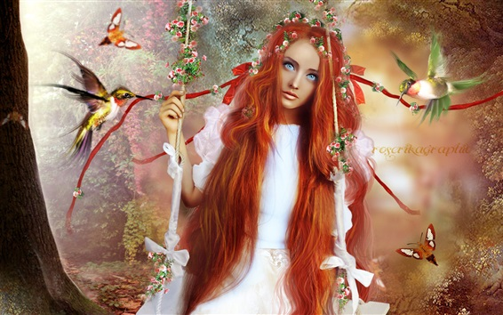 Wallpaper Fantasy red hair girl, kingfisher, butterfly, swing