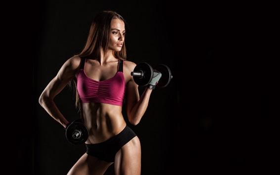 壁紙 フィットネスの女の子、女性、ダンベル、スポーツウェア、トレーニング、黒背景