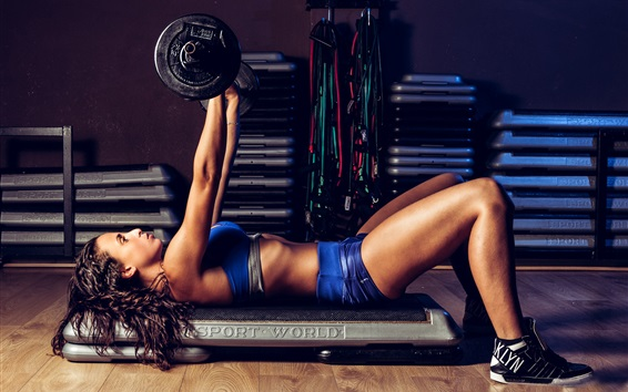 Wallpaper Fitness girl, pose, workout, weightlifting