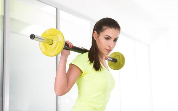壁纸 健身女孩,黄色的衣服,锻炼,哑铃