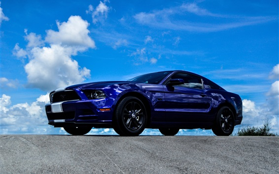 Wallpaper Ford Mustang blue car side view