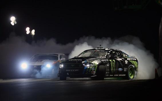 Wallpaper Ford Mustang race car, drift, night