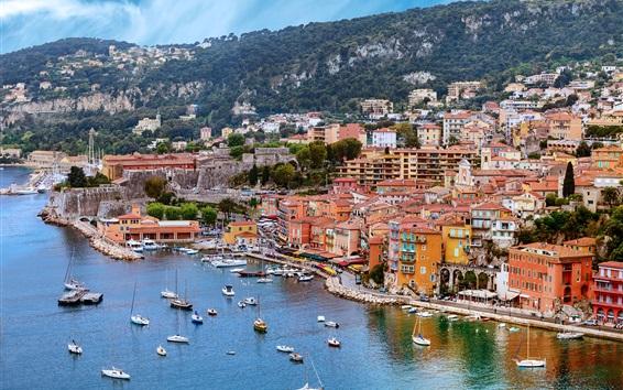 Wallpaper France, Nice, dock, sea, yachts, boats, rocks, houses