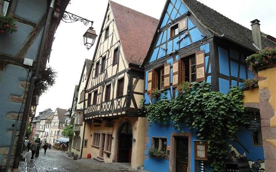 Papéis de Parede França, rua, casas