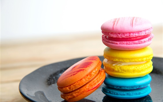 Wallpaper French dessert, macaron, cookies, colorful