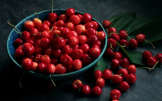 Fresh fruit, red cherries Wallpaper Preview