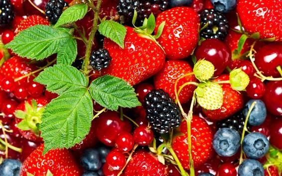 Wallpaper Fresh fruits, strawberry, blueberry, blackberry, mint leaves