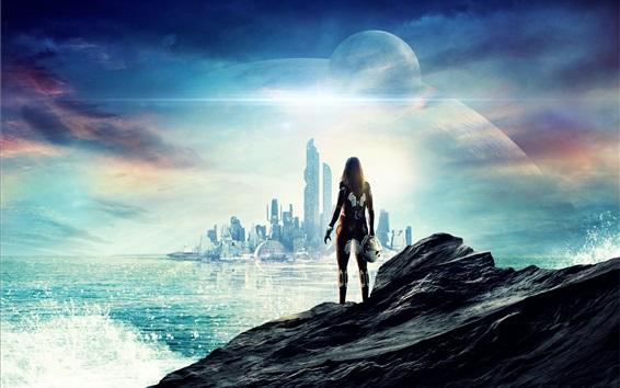 Wallpaper Future, sci-fi, city, skyscrapers, sea, girl, planets