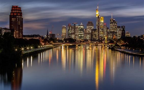 Papéis de Parede Alemanha, Frankfurt, noite, cidade, Rio, ponte, luzes, arranha-céus