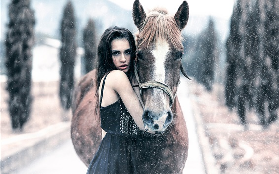 Wallpaper Girl and horse in winter, cold, snow, snowflakes