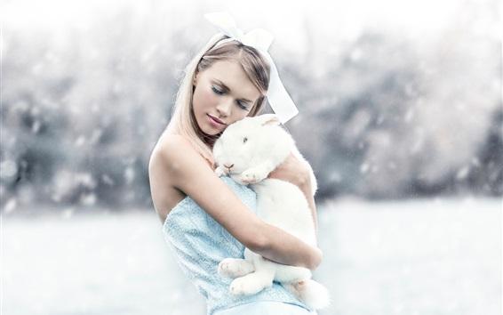 Wallpaper Girl and white rabbit, winter, snow