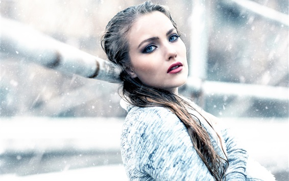 Wallpaper Girl in winter, snow, cold