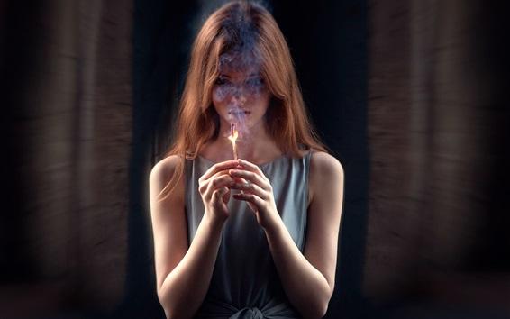 Wallpaper Girl last hope, match, fire, smoke
