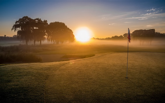Wallpaper Golf field, sport, trees, sunrise, fog