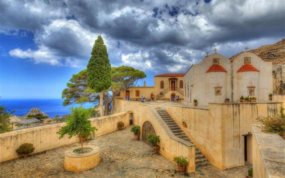 Fond d'écran Grèce, Preveli, Crète, monastère, côte, mer, nuages