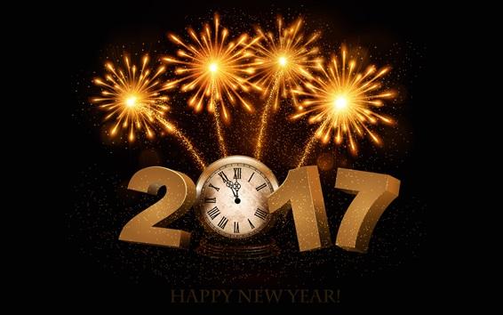Fond d'écran Bonne année 2017, feux d'artifice, horloge