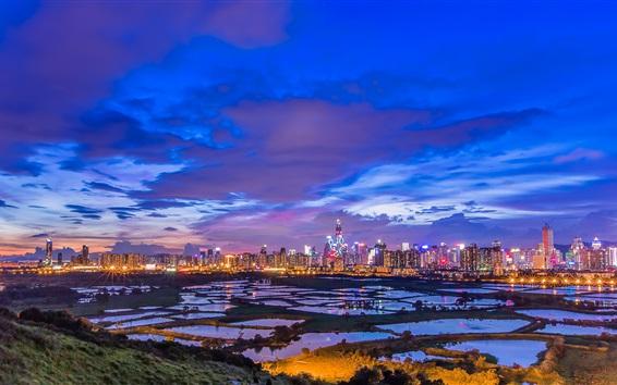 Wallpaper Hong Kong beautiful night, skyscrapers, city, lights, ponds