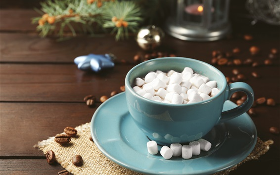 Wallpaper Hot chocolate, cocoa, marshmallow, cup, drinks